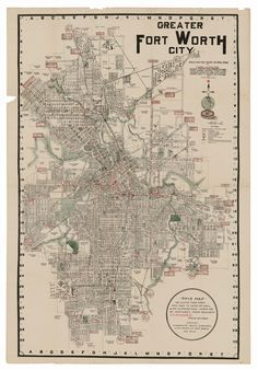 This pocket map of Fort Worth, published by C. H. Rodgers in 1919, highlights the city's major road routes and rail lines in red, outdoor…