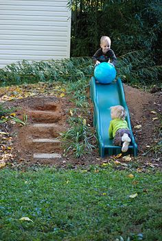 we just got a recycled slide for our hill slide and it looks just like this one...helpful pics to set it up