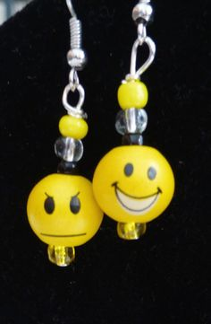 Moody Faces Yellow Dangle Earrings OOAK by DonkeyandTheUnicorn, $8.00