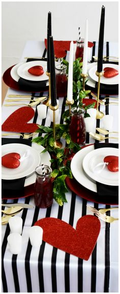 Valentines party! Black, red, and white decor! Perfect romantic table setting.