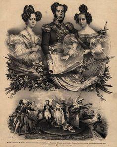 D.Amélia, D.Pedro I e D.Maria II de Portugal.  D.Maria II tornou-se Rainha de Portugal depois da abdicação de seu pai, Pedro IV (Pedro I, no Brasil) em seu favor, em 1826. Deixou o Rio de Janeiro a 5 de julho de 1828, sob o título de duquesa do Porto, sendo reconhecidos os seus direitos à coroa de Portugal por algumas potências europeias.