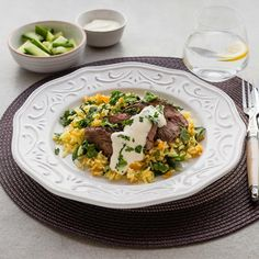 Spanish Spice-Rubbed Lamb with Carrot Spinach Rice and Citrus Sour Cream Spinach Rice, Creamed Spinach, Carrot And Coriander, Spice Rub, Meals For The Week, Healthy Smoothies, Fruits And Veggies, I Foods, Sour Cream