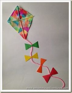 A Mommy's Adventures: Kite Craft You are in the right place about Spring Crafts For Kids paper plate Here we offer you the most beautiful. Spring Crafts For Kids, Spring Projects, Summer Crafts, Projects For Kids, Art Projects, Kites For Kids, Art For Kids, Kid Art, Daycare Crafts