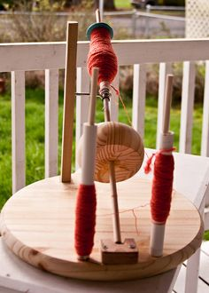 My homemade kick spindle set up for Plying