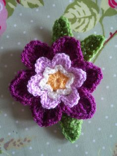 crocheted flower--Rachel and Pip