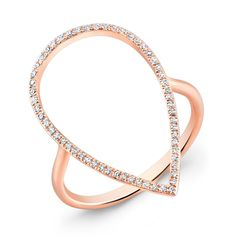 Diamond Open Pear Ring: available in  rose (shown)  yellow, and white gold
