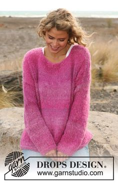 "Easy beginner project: Knitted DROPS sweater in ""Verdi"". Size: S - XXXL. ~ DROPS Design"
