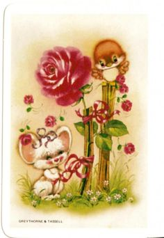 vintage SWAP CARDs 1970s Blank back cute little mouse & bird with roses
