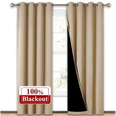 NICETOWN Thermal Insulated Blackout Curtains, Noise Reducing Performance Drapes with Black Lining, Full Light Blocking Drapery Panels for Patio (Biscotti Beige, 1 Pair, 52 inches x 95 inches) Black Curtains, Velvet Curtains, Door Curtains, Grommet Curtains, Bedroom Curtains, Insulated Curtains, Thermal Curtains, Blackout Drapes, Living Room Red