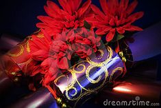 A close up of luxury christmas crackers with silkflowers