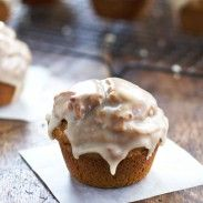 Healthy Maple Glazed Pumpkin Muffins: whole grain, less sugar and oil, 270 calories - Pinch of Yum