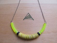 Yellow neon tribal necklace