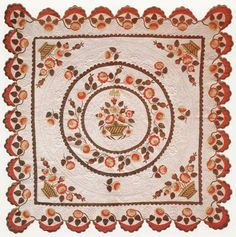 Rare and beautiful center medallion reticulated Basket applique quilt with corner flowers in baskets, remarkable scalloped border with flowers and swags, now in the collection of the International Quilt Study Center