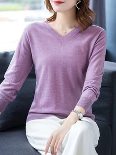 V Neck Patchwork Brief Plain Long Sleeve Knit Pullover - Trendy Outfits Trendy Outfits, Fashion Outfits, Nike, Long Sleeve Sweater, Types Of Sleeves, Sweaters For Women, Clothes For Women, Latest Fashion, Fashion Beauty