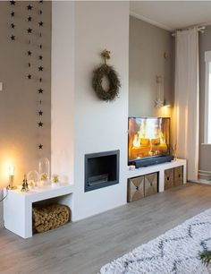 Wil je een open haard in huis? Fireplace Decor, Home Fireplace, House Design, New Homes, Candles In Fireplace, House, Home, Home Design Decor, Home Furnishings