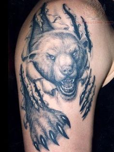 Ripped Skin Chicago Bears Tattoo