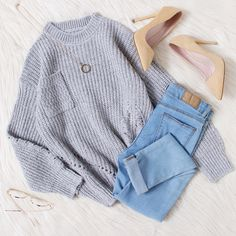 Texture Open Knit Sweater With Chest Pocket