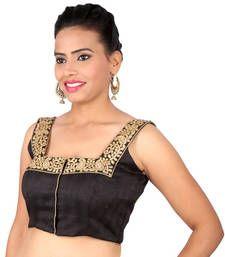 Buy Black cotton silk Sleeveless blouse embroidery padded readymade sleeveless-blouse online