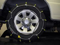 Tire chains with rugged steel wiring covered with case hardened steel rollers for traction. A great fit for the snow days and traveling to and from your destination on the icy roads. Compatible with Honda CR-V.