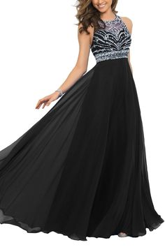 This+gorgeous+gown+features+a+sheer+mesh+bodice+and+jewel+neckline+that+dips+into+a+modern+razor+back+embellished+with+clear+stones+and+sequins.+The+modified+A-line+skirt+is+crafted+of+flowing+chiffon+layers+that+beautifully+fall+to+the+floor  Suitable+as+prom+dresses,+cocktail+dresses,+evening+d...