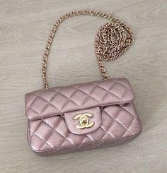 46a53ca7c1 Pink rose gold lavender metallic Chanel quoted bag handbag Borse Alla Moda,  Borsette Alla Moda