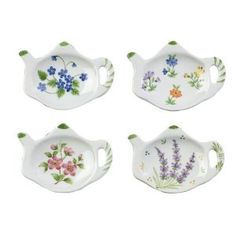 Floral Porcelain Teapot Shaped Tea Bag Holders (Set of Anti Bark Collar, Tea Caddy, Tea Art, China Painting, Pottery Painting, Ceramic Painting, Fine Porcelain, Painted Porcelain, Tea Accessories
