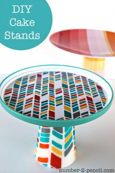 DIY cupcake/cake stands using inexpensive plates & cups from Dollar Store or on sale at Target.  http://www.shelterness.com/the-easiest-in-crafting-diy-cupcake-stands/