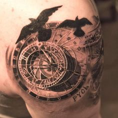 The Best Compass Tattoo Designs, Ideas and Images with meaning and drawings. Compass tattoos inspirations are beautiful for the forearm, wrist or back. Watch Tattoos, 3d Tattoos, Time Tattoos, Trendy Tattoos, Body Art Tattoos, Sleeve Tattoos, Tattoos For Guys, Tatoos, Elbow Tattoos