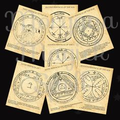 The SUN PENTACLES of SOLOMON, Greater Key of Solomon, High Magick, Arcane Myth, Clip Art, Digital Download, Occult Book of Shadows Page by MorganaMagickSpell on Etsy