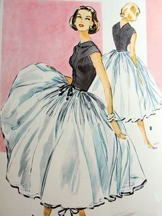 McCalls Pattern designed by Galanos, Evening Cocktail Dress, Petticoat Pattern Vintage Fashion Sketches, Fashion Illustration Vintage, Illustration Mode, Fashion Illustrations, Pattern Illustration, Fashion Vintage, Vintage Outfits, Vintage Dresses, 1950s Dresses