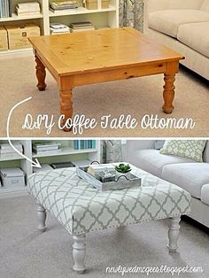 DIY Ottoman or Stool | Use an old table and affix padding & your choice of material using a hot glue gun.
