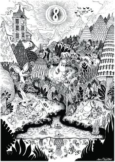 Tove Jansson - moomin monorex print 1 VIA Le Cornacchie della Moda Art And Illustration, Illustrations, Tove Jansson, Moomin Books, Coloring Books, Coloring Pages, Screen Printing, Art Drawings, Fairy Tales