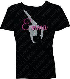 Gymnastics Personalized Custom Glitter T-shirt with Your Name Gymnast Gymnastic Shirt T-shirt girls gift
