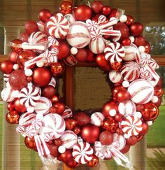 Christmas Candy Ornament Wreath by MemphisMomWreaths on Etsy, $65.00