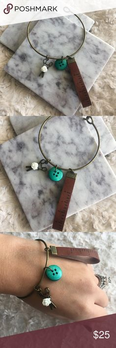 🌼✂️Seamstress Bronze Bangle w/ Tape Measure Charm 🎀HANDMADE BY ME🎀 Very cute and unique brass adjustable bangle for the DIY'er or sewer you know! Has unique tape measure charm with teal button and scissors with white rose stud. Makes a great gift! 📏Brand new never worn 🎁All jewelry comes in a box and wrapped HANDMADE Jewelry Bracelets