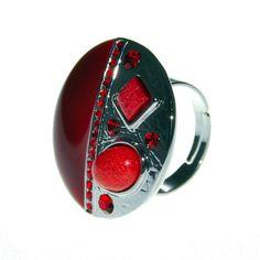 Anillo Bicolor Figuras Rojo