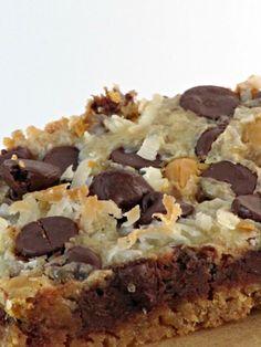 Magic bars/7 layer bars. 3/14: very chocolatey, cut back on chocolate chips