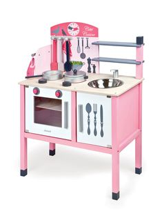 This beautifully coloured Pink Wooden Kitchen includes a double stove, sink, oven, pans, oven glove and all the utensils any little chef may need to cook up a storm! A wonderful gift for any boy or girl who love pretend play! Pink Wooden Kitchen, Pink Play Kitchen, Pretend Play Kitchen, Play Kitchens, Let's Pretend, Kitchen Cooker, Oven Glove, Cupboard Doors, Christmas Gifts For Kids
