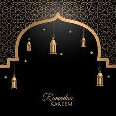Ramadan Kareem Greeting Card Design With Lantern Gold Lanterns Lanterns Ramadan Kareem