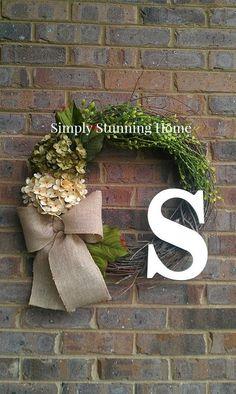 Custom Sage Green Ivory Hydrangea Wreath by simplystunninghome