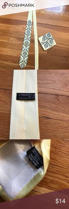 Worn once - yellow tie and pocket square Worn once - yellow tie and pocket square with purple toile motif. cyberoptix Accessories Ties
