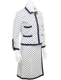 CHANEL COUTURE. Silk Polka dot Skirt Suit  Stunning Chanel haute couture 3 pc. silk suit in cream silk with navy polka dots. Made in the 1960's for a Montreal client.