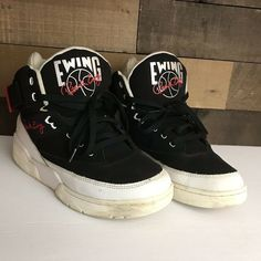 65e9ab2731 Patrick Ewing Shoes Vintage Mens Size 9.5 Black And White Hightop  Basketball  fashion  clothing