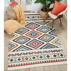 Nourison Tribal Decor Multicolor/White Aztec Rug - x (White/Multicolor - x (Polyester, Geometric) Tribal Theme, Tribal Decor, Area Rug Sizes, Area Rugs, Aztec Rug, Aztec Prints, Mo S, White Area Rug, Blue Area