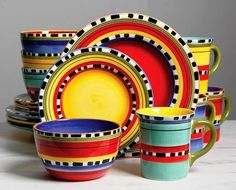 Gibson Gibson Chili Verde 16 Pc Mix And Match Dinnerware Set 4 Assorted Colors Hand Painted Stoneware Stoneware Dinnerware Sets, Tableware, Georgia, Dish Sets, Mix N Match, Home Gifts, Chile, Pottery, Hand Painted