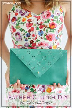 DIY Leather Cut Out Clutch with the Cricut Explore --Sewbon.com. #DesignSpaceStar Round 2