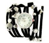 Geneva Platinum Women's Rhinestone Multi-strand Wrap-around Watch-Black $18.75