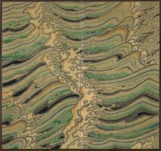 A two-fold textile screen with multicoloured cresting waves.  Seal: Gekka, Japan 20th century Shōwa period