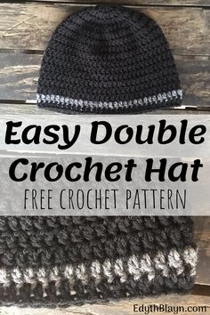 Easy Double Crochet Hat The Easy Double Crochet Hat is a fast and e. Easy Double Crochet Hat The Easy Double Crochet Hat is a fast and easy pattern! Mens Crochet Beanie, Crochet Men, Easy Crochet Hat, Crochet Beanie Pattern, Easy Crochet Patterns, Double Crochet, Free Crochet, Hat Patterns, Knitting Patterns