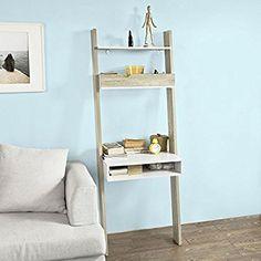 SoBuy® FRG111-WN, Ladder Shelf Wall Shelf Storage Display Shelving Unit with Drawer & Desk Workstation: Amazon.co.uk: Office Products